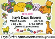 Toys Birth Announcement