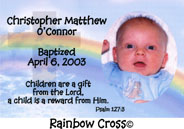 Rainbow Cross Christening Magnet