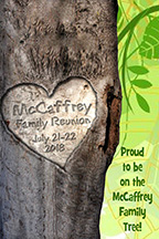 Family reunion 2 x 3 inch magnet favors in Carved Tree design are personalized with your family name & reunion date.