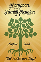 Family reunion 2 x 3 inch magnet favors in Circle design are personalized with your family name and reunion date