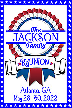 Family reunion 2 x 3 inch magnet favors in patriotic red, white & blue design are personalized with your family name, reunion date & location.