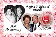 Pink Rose Anniversary Magnets
