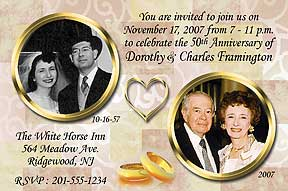 Anniversary Gold Rings Invitation