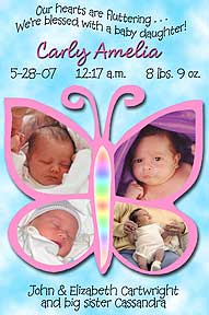 Baby Butterfly Photo Birth Announcement