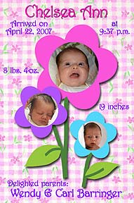 Baby Flowers Photo Birth Announcement