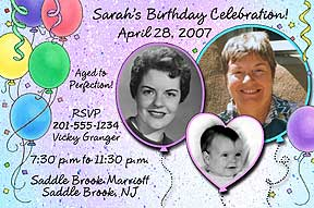 Balloons Photo Birthday Invitation
