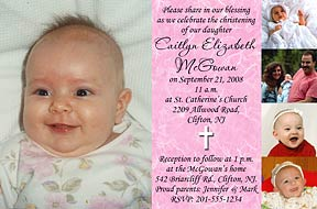 Photo christening invitations photo baptism invitations photo send us 5 of your favorite photos with your message and personalization can be made into a photo baptism invitation or thank you available in pink shown stopboris Choice Image