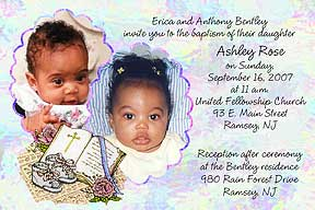 Photo baptism invitations christening invitations photo baptism send us 2 of your favorite photos with your message and personalization can be made into a photo christening invitation or announcement stopboris Choice Image
