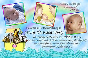Photo christening invitations photo baptism invitations photo send us 3 of your favorite photos with your message and personalization can be made into a photo baptism invitation or thank you stopboris Image collections