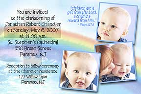 Photo christening invitations photo baptism invitations photo rainbow cross photo christening invitations send us 3 of your favorite photos with your message and personalization can be made into a photo baptism stopboris Choice Image