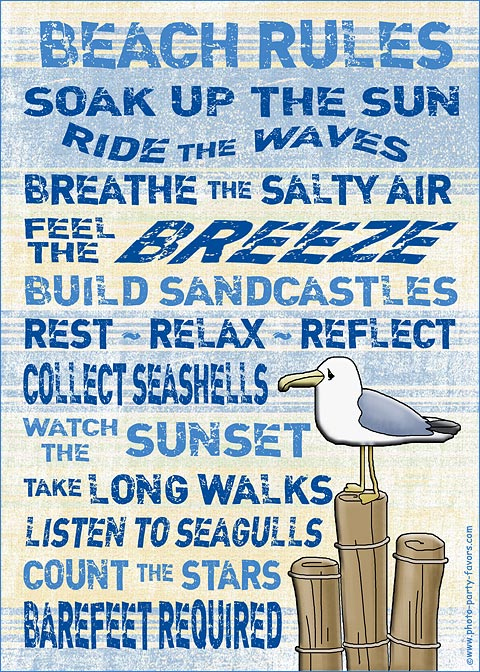 Free Printable Beach Rules Sign 5 X 7 Inch Print