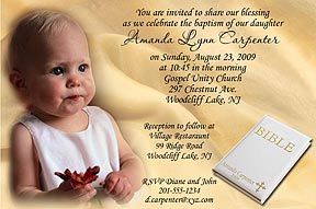 Photo baptism invitations photo christening invitations photo name is printed in small gold letters on bible can be made into a photo christening invitation stopboris