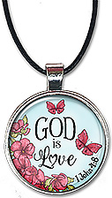 Original art Christian necklace or key chain with the Bible verse