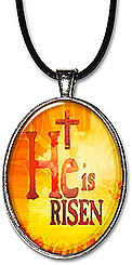 Original Christian art keychain or necklace with the words 'He is Risen'.