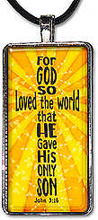 Original word art Christian cross with the Bible verse from John 3:16 'For God so loved the world that He gave His only Son' is available as a necklace or keychain.