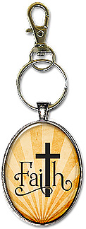 Christian faith keychain or necklace with the bold cross in place of the T.