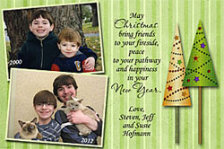 Photo Christmas Card with a then and now theme available at www.photo-party-favors.com