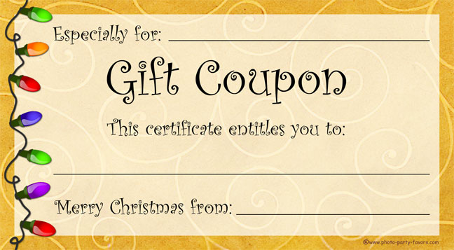 Free printable christmas gift coupons 4 x 6 inch christmas gift coupon yelopaper Images