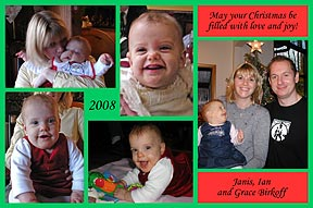 Red & Green Photo Christmas Cards with Multiple Photos