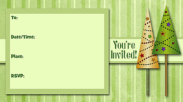 Christmas Trees Invitations - Free Printable Fill-In Holiday Party ...