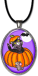 This handcrafted Halloween necklace features an adorable black cat popping out of a pumpkin, while a mouse & bat look on.