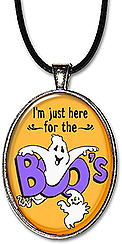 Whimsical ghosts adorn claim: 'I'm just here for the boos' on this handcrafted, light-hearted Halloween necklace or keychain.