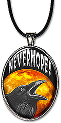 Halloween raven against a full moon, saying 'Nevermore' adorns this spooky holiday necklace or keychain.