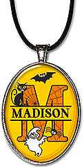 Original art Halloween Split Monogram Name necklace pendant or keychain is personalized with any initial, name, spelling, and features a black cat, bat, ghost and spider.