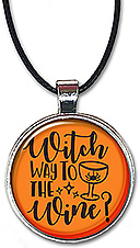This Halloween necklace is also available as a keychain and has the message: which way to the wine.