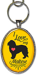 Sample of a handcrafted necklace or keychain with the message: 'I love my maltese', with 75+ dog breeds available.