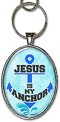 Original anchor shaped word art handcrafted Christian necklace or keychain, features the message: 'Jesus is my Anchor'.