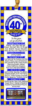 My School class reunion bookmark favors are personalized with your school photo,name and colors with fun facts from the year you graduated.