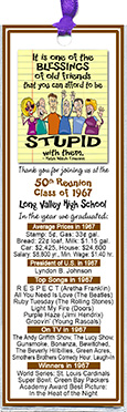 Old Friends class reunion bookmark favors are personalized with your school name and colors with fun facts from the year you graduated.
