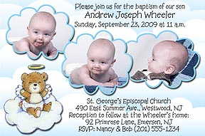 Photo baptism invitations christening invitations photo baptism send us 3 of your favorite photos with your message and personalization can be made into a photo christening invitation or announcement stopboris Choice Image