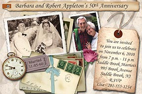 Anniversary Photo Invitation in Memories design with photos scattered with mementos from a life spent together.
