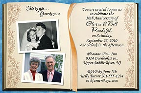 Photo Anniversary Invitations - Your then and now photos are featured in this beautiful invitation with the look of an open Memory Book.