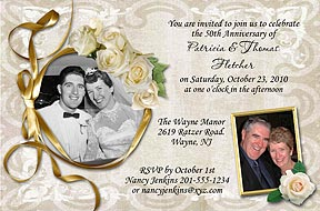 White Roses Anniversary Invitation