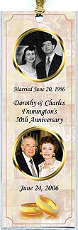 Personalized Anniversary Photo Bookmark Favors in gold rings design is also available in mint tins, notebooks and invitations.