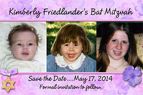 Soft Bloom Photo Save the Date Cards for Bat Mitzvah features 3 of your favorite photos.