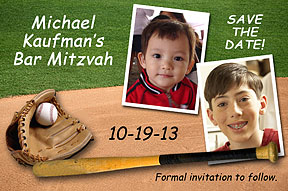 Baseball Bar Mitzvah Save the Date Cards feature 2 photos of your child, with personalization.