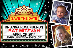 Bat Mitzvah and Bar Mitzvah  Save the Date Cards in a Movie Marquee design, staring two photos of your child,personalized with your message up in lights.