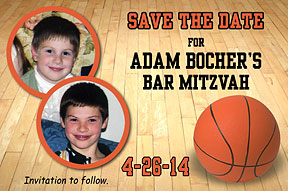Basketball Photo Save the Date Cards for bar mitzvah, personalized with your message.