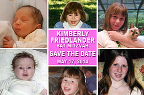 Bar Mitzvah and Bat Mitzvah Photo Save The Date Cards feature 6 of your favorite photos in black and white or color with your message to save the date.