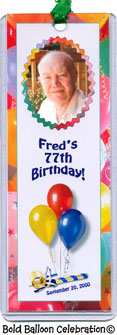 Bold Balloon Celebration - Photo Birthday Bookmark favors with your photo and personalization.