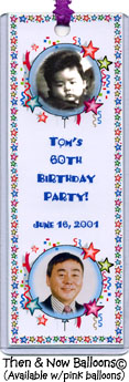 Then and Now Balloons Photo Bookmark Favors personalized with 2 photos and your message.