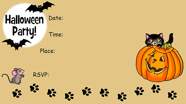 Black Cat Halloween Invitations - Free Printable Fill-In Invitations For A Halloween Party