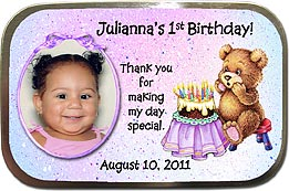 Personalized Photo Mint Tins with a teddy bear design would make great party favors for a first or second birthday.