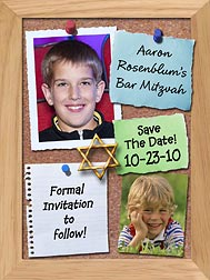 Bulletin Board Bar Mitzvah Photo Magnets