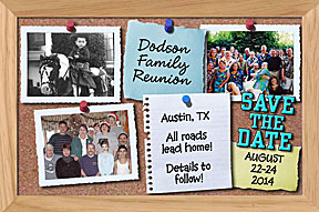 Bulletin Board Personalized Photo Family Reunion Save the Date Cards in Bulletin Board sign can include 3 family pictures