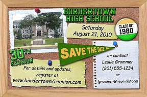 Bulletin Board Class Reunion Save the Date Cards are personalized with your school photo, name, year and colors.